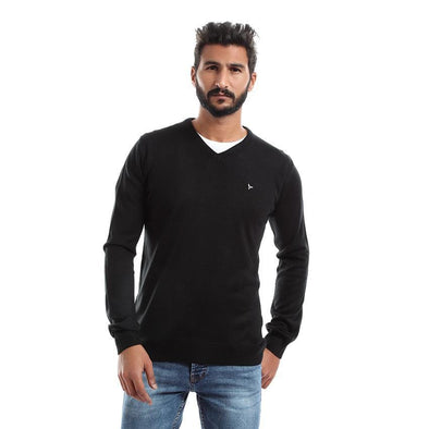 V-Neck Plain Sweater-Black - Dockland