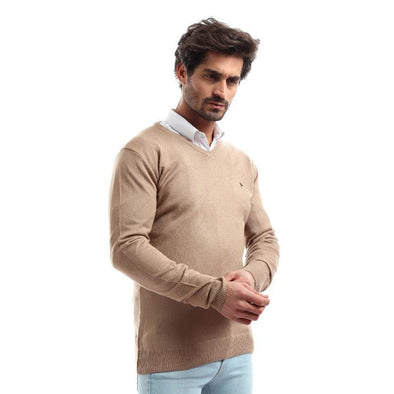 V-Neck Plain Sweater-Cafee - Dockland