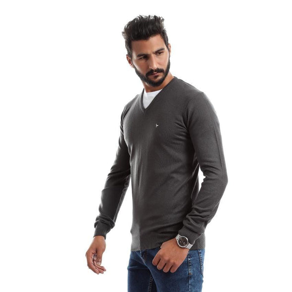V-Neck Plain Sweater-Charcoal - Dockland