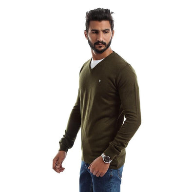 V-Neck Plain Sweater-Dark Olive - Dockland
