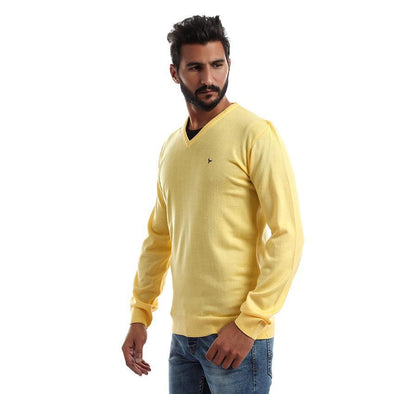 V-Neck Plain Sweater-Gold - Dockland