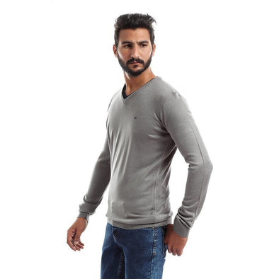 V-Neck Plain Sweater-Grey - Dockland