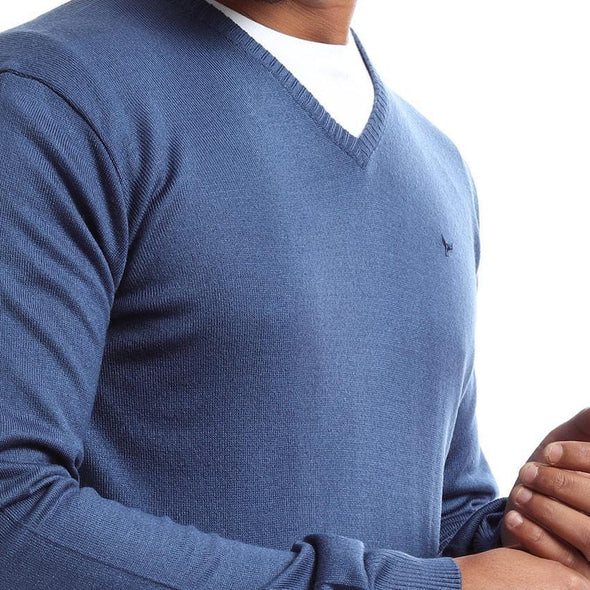 V-Neck Plain Knitted Sweater-Indego - Dockland