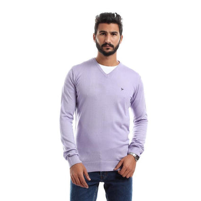 V-Neck Plain Sweater-Light Purple - Dockland