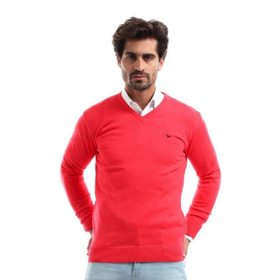 V-Neck Plain Sweater-Melon - Dockland