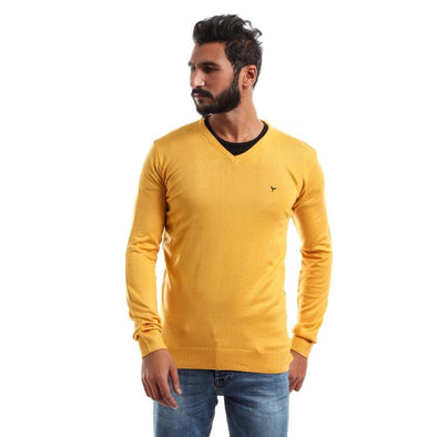 V-Neck Plain Sweater-Mustard - Dockland