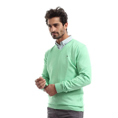 V-Neck Plain Sweater-Pistachio - Dockland