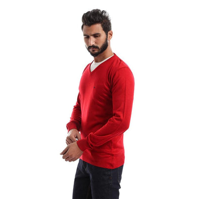 V-Neck Plain Sweater-Red - Dockland