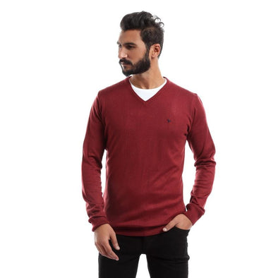 V-Neck Plain Sweater-Wine - Dockland