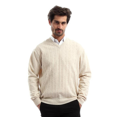 V-Neck Texrured Wool Sweater - Dockland