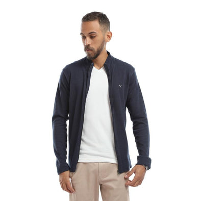 Plain Zipped Cardigan-Navy - Dockland