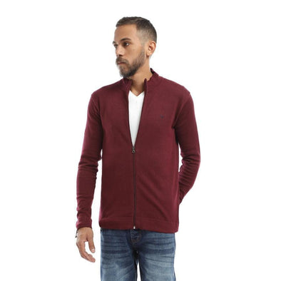Plain Zipped Cardigan-Wine - Dockland