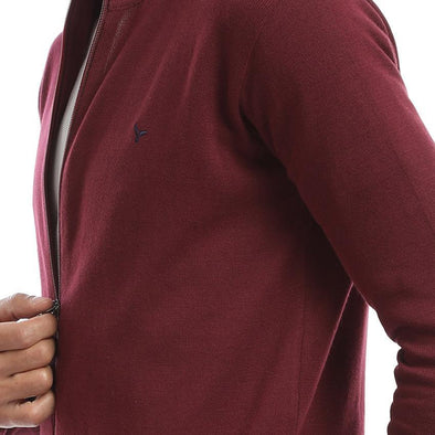 Zip Up Hoodie Knitted Cardigan-Wine - Dockland