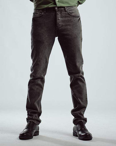 Washed slim fitted jeans-Dark Gery - Dockland