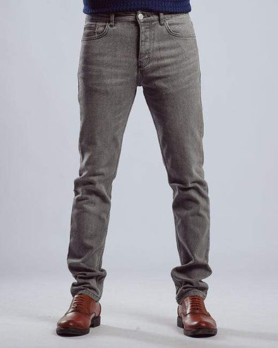 Washed slim fitted jeans-Gery - Dockland