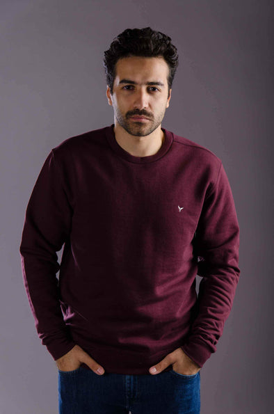 Plain Crew Neck sweatshirt-Wine - Dockland