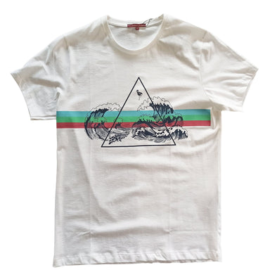 Crew Neck Graphic Wave Print T-Shirt تي شرت مطبوع - Dockland