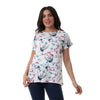 Mix Pattern Slip On Short Sleeves Top - White - Dockland
