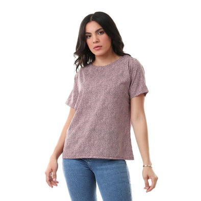 Round Neck Striped Slip On Blouse - Dusty Rose & Black - Dockland