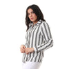 Turn Down Collar Striped Buttoned Shirt - Black & White - Dockland