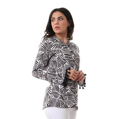 Buttoned Tassel Trim Long Sleeves Shirt - Black & White - Dockland