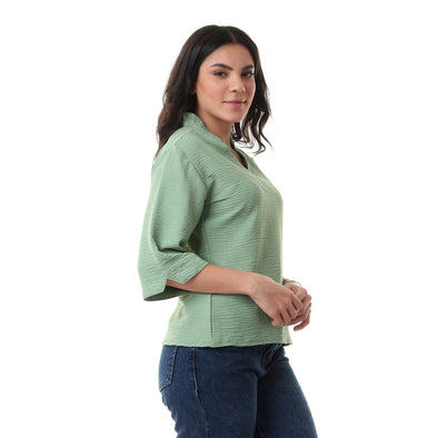 Elbow Sleeves V-Neck Solid Blouse - Jade Green - Dockland