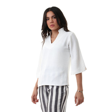 Elbow Sleeves V-Neck Solid Blouse - White - Dockland