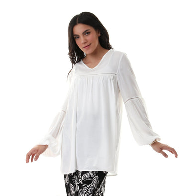 V-Neck Perforated Solid Long Sleeves Blouse - White - Dockland