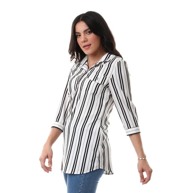 Buttoned Striped Shirt With Front Pocket - White & Black - Dockland