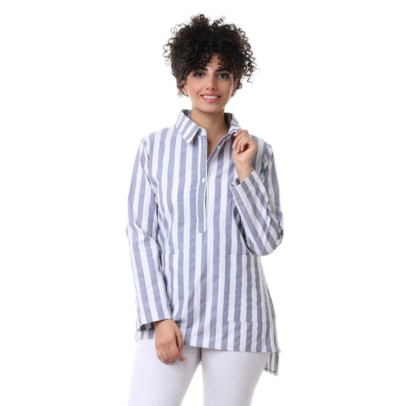 Striped Blouse With Pockets بلوزة مقلمة بجيوب - Dockland