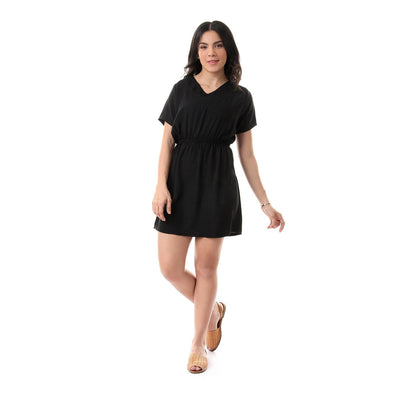 Solid V-Neck Dress With Elastic Waist - Black - Dockland