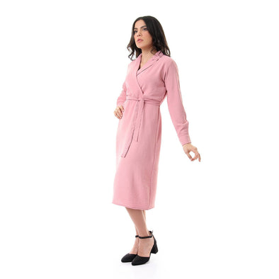 Notched Collar Solid Long Sleeves Dusty Rose Dress - Dockland