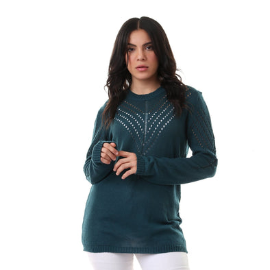 Round Neck Perforated Slip On Teal Green Pullover - Dockland