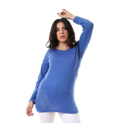 Side & Sleeves Perforated Knitted Slip On Pullover - Blue - Dockland