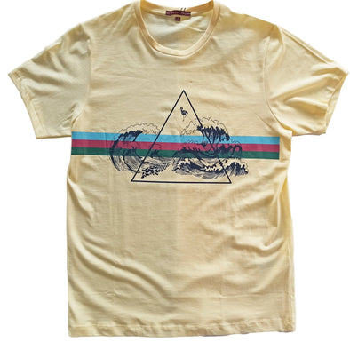 Classic Fit Crew Neck Graphic Wave Print T-Shirt تي شرت مطبوع - Dockland