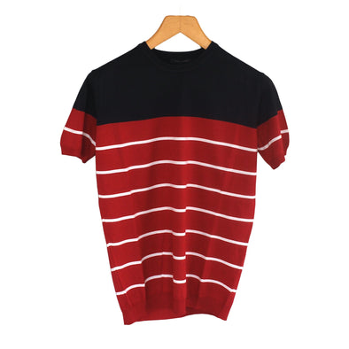 Fine Knit Two Tone Crew Neck Striped T-Shirt - Dockland