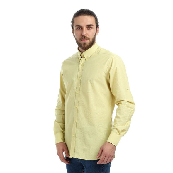 Checkered Turned Down Collar Shirt - Yellow - Dockland