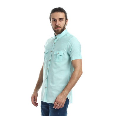Slim Fit Short Sleeves Shirt - Light Pistachio - Dockland