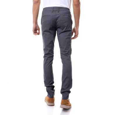 Chino Fly Zip Slim Pants-Grey - Dockland