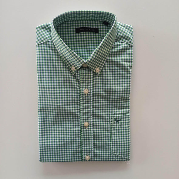 Mini Checkered Buttoned Long Sleeves Shirt-Green قميص كاروهات باكمام طويله - Dockland