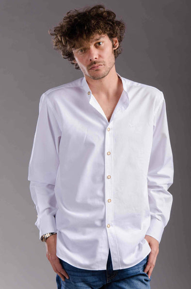 Regular-fit long sleeve shirt-white - Dockland