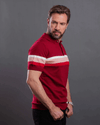 Classic Fit Knitted Polo Shirt-Wine - Dockland