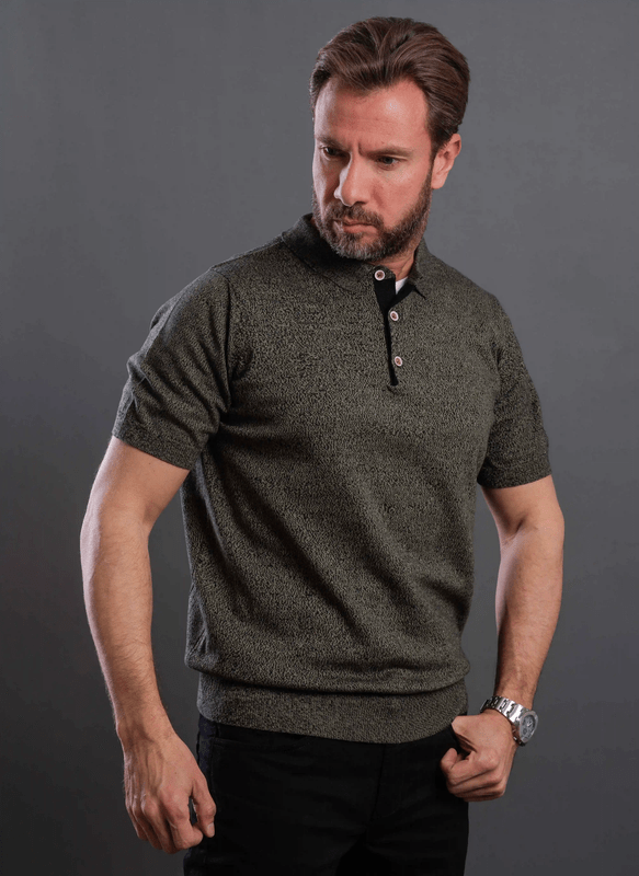 Classic Fit Knitted Textured Polo Shirt-Black