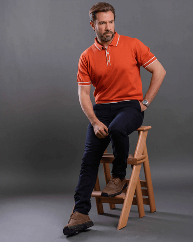 Pain Knittd Polo Shirt-Orange - Dockland