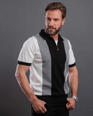 STRIPE KNITTED POLO SHIRT WITH ZIPPER-Black