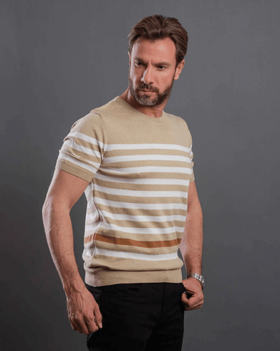 Fine Knitted Contrast striped Crew Neck T.Shirt-Baige