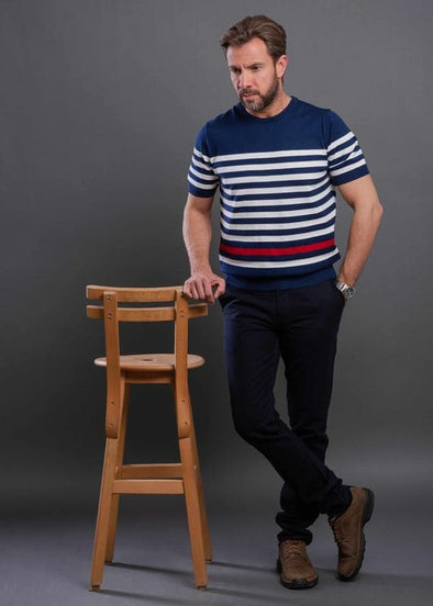 Fine Knitted Contrast striped Crew Neck T.Shirt-Navy blue - Dockland