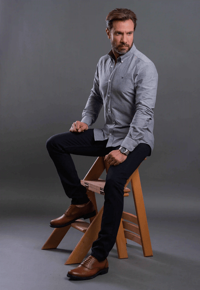 Plain long sleeve shirt-Dark Grey - Dockland