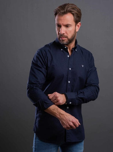 Plain long sleeve shirt-Navy - Dockland
