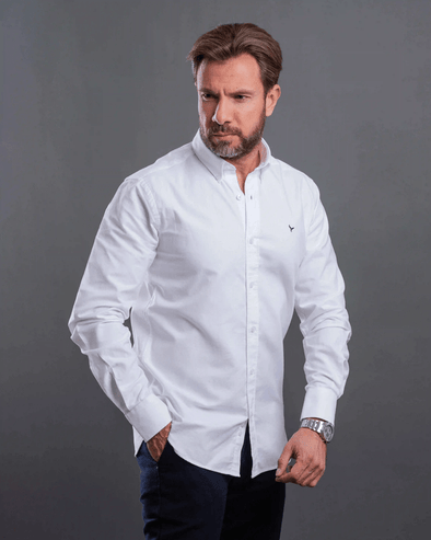 Plain long sleeve Oxford shirt-White